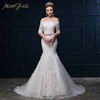 2018 New Fashion Elegant Crystal Beading Wedding Dresses Princess mermaid Cathedral/Royal Boat Collar Wedding dress WD250
