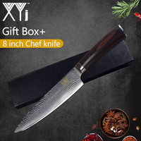 XYj Damascus Steel   Kitchen     Knife   VG10 Japanese Style Beauty Pattern Blade   Knife   8 inch Gift Box Meat Fish Cooking   Accessories
