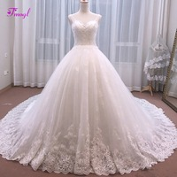 Fmogl Luxury Sweetheart Neck Beaded Lace Up A Line Wedding Dress 2018 Appliques Chapel Train Princess