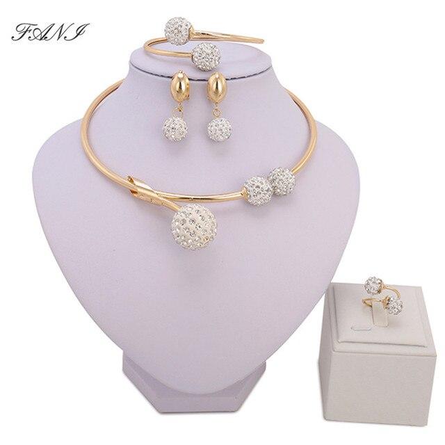 ערכות תכשיטים אפריקאים אופנה מותג דובאי ערכות תכשיטי קריסטל צבע זהב סיטונאי תכשיטי חתונה אביזרי כלה ניגרית
