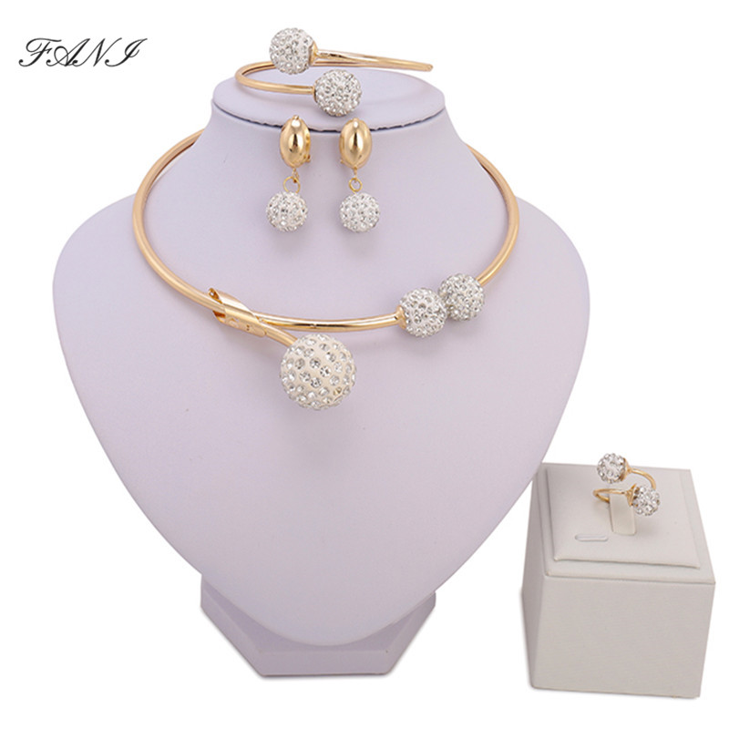 Fashion African Jewelry sets Brand Dubai gold-color Crystal Jewelry sets Wholesale Bridal Accessories nigerian Wedding Jewelry