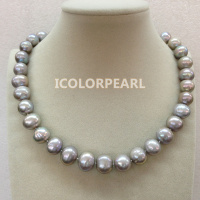 WEICOLOR Gift For Mothers! 45cm Large as 11 15mm Grey/Black Freshwater Pearl Necklace With A Nice Crystal Magnet Clasp!