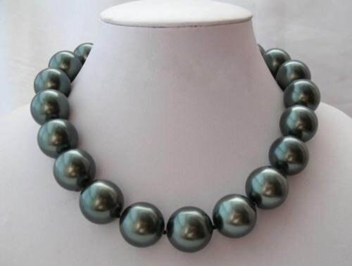 Bijoux Rare énorme 20mm mer du sud coquille noire collier de perles AAA