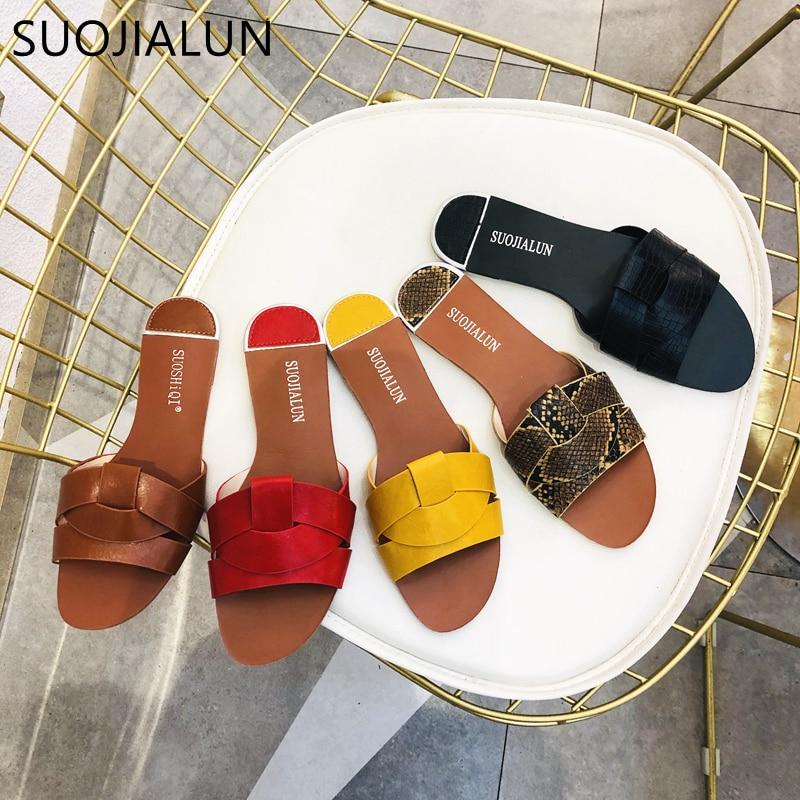 2019 New Brand Mixed Colors Women Slipper Pllus Size 35-41 Women Summer Beach Slides Flip Flops Outdoor Flat Slipper(China)