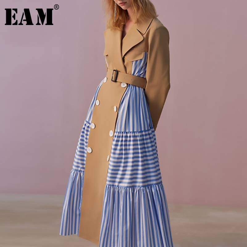 [EAM] 2019 New Autumn Winter Lapel Long Sleeve Blue Striped Split Joint Loose Personality Windbreaker Women Trench Fashion JW827