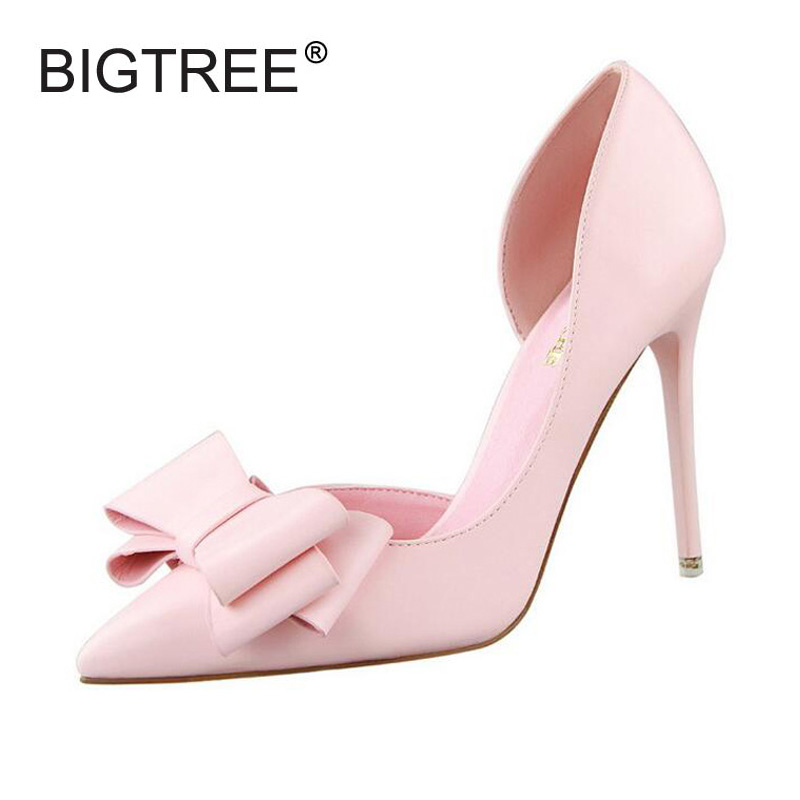 Women Pumps Cute Cut outs Bowtie Thin High Heels Sexy Pointed Toe OL Office Ladies Shoes Slip-ons Wedding Shoes Woman Sandals guapabien new sexy pointed toe red bottom high thin heels wedding shoes ladies brand women pumps shoes high heels ol dress pumps