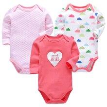 Купить с кэшбэком Baby Girls Clothes Newborn Toddler Babies 3-24 Months Long Sleeve Bodysuit Infant Boys Clothing 3 Pack