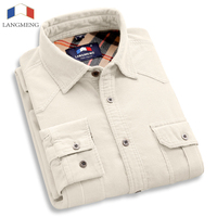 100 Cotton Solid Vintage Flannelette Corduroy Shirt Men Slim Fit New Casual Shirts Mens Brand Long