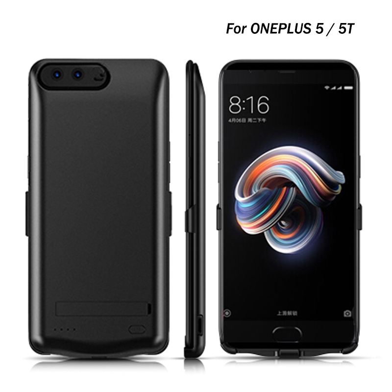 5000 mAh boîtier de batterie pour Oneplus 5 batterie portative externe chargeur dos housses de protection pour téléphone pour 1 + 5 T avec port de charge USB