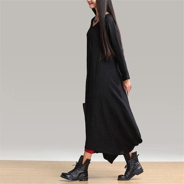 Johnature 2021 Autumn New Women Black Color Casual Dress Robe Long Sleeve V Neck Loose Brief Loose Irregular Long Dress 3