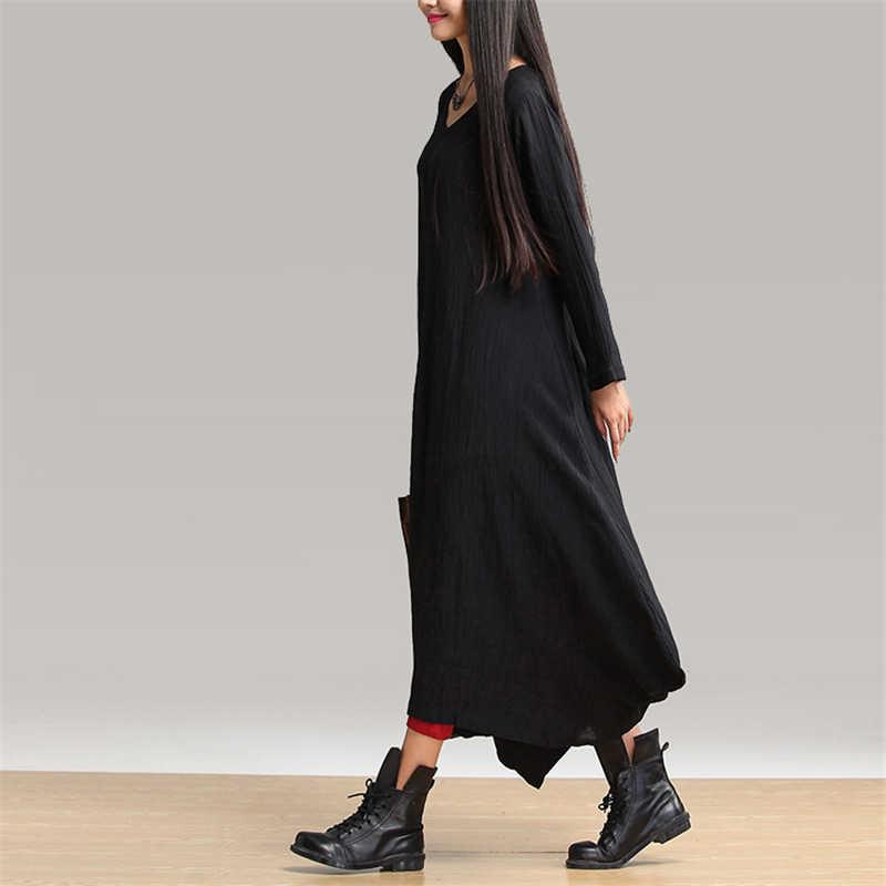 Женское платье-халат с длинным рукавом Johnature, черное длинное свободное асимметричное повседневное платье-халат с длинными рукавами и V-образным вырезом, осень 2019