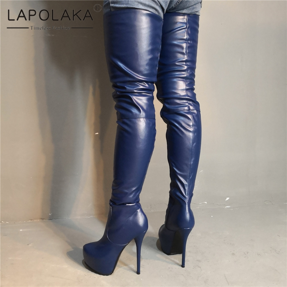 Lapolaka Brand Design Big Size 35-47 Sexy Women Shoes Party Dark Blue Thin High Heels Over The Knee Boots Long Boots WomanLapolaka Brand Design Big Size 35-47 Sexy Women Shoes Party Dark Blue Thin High Heels Over The Knee Boots Long Boots Woman