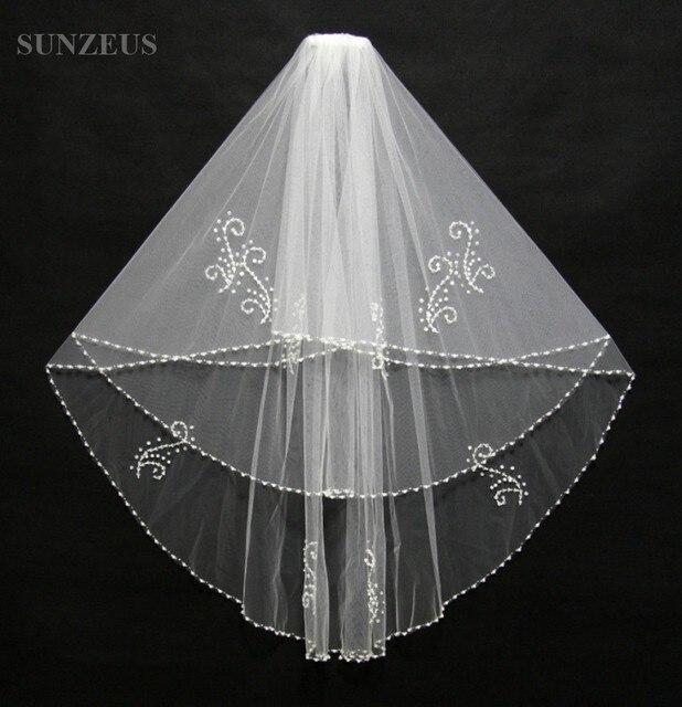 Luxury Beaded Veils 2 Layers Wedding Bridal Veil Ivory White Voile Mariage