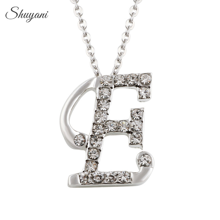 Shuyani jewelry silver plated alphabet necklace with link chain shuyani jewelry silver plated alphabet necklace with link chain crystal charm 26 initial letter e necklace pendant in pendant necklaces from jewelry altavistaventures Images