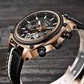 Мужские автоматические механические часы Montre homme LIGE  спортивные часы с турбийоном  кожаные повседневные деловые часы в ретро-стиле