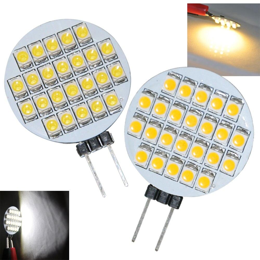 JYL High Power 2pcs 24 LED 3528 SMD G4 LED Lamp Light Bulbs Warm White / White DC/AC 12V 1W 156-168LM Room Cabinet Marine Camper