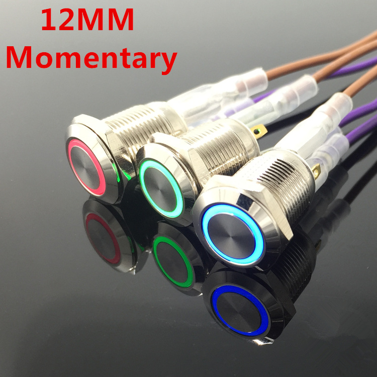 12mm Waterproof Momentary Stainless Steel Metal LED Push Button Switch Horn Bell Car Auto Engine Power Start 3V 5V 12V 24V 220V