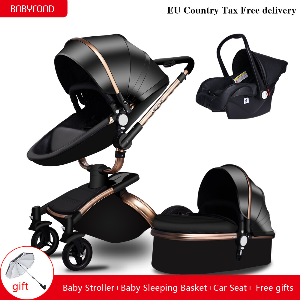 Tax free! Brand baby 3 in 1 baby stroller leather two-way baby car cart carriage EU baby pram gift babyfond Aulon newborn brand baby strollers 3 in 1 baby stroller 4 in 1 baby carriage eu market high quality baby stroller export newborn gift