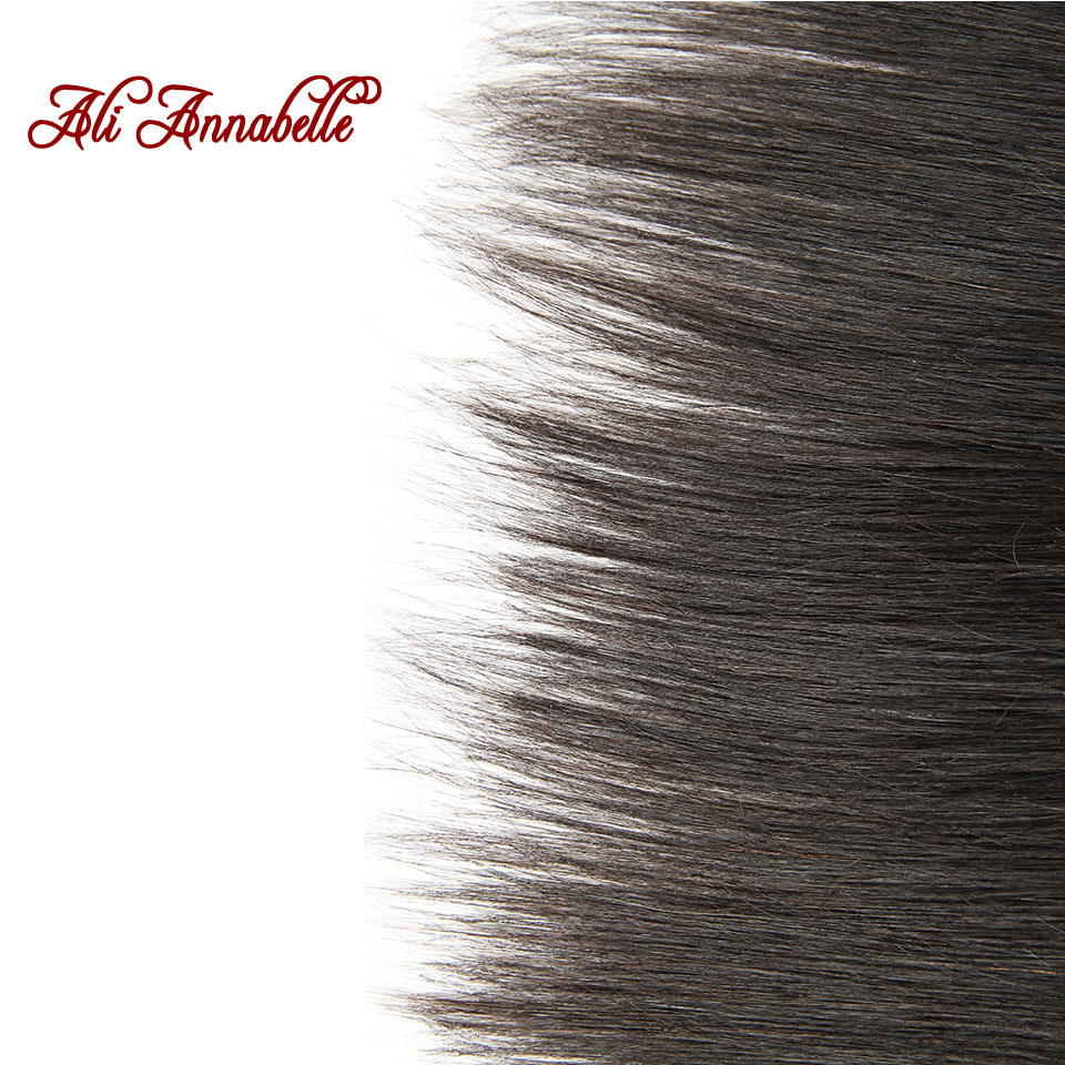 HTB1i476hQfb uJjSsrbq6z6bVXaf ALI ANNABELLE HAIR Straight Brazilian Human Hair Bundles With Transparent Lace Frontal/Medium Brown 3 Bundles with Lace Closure
