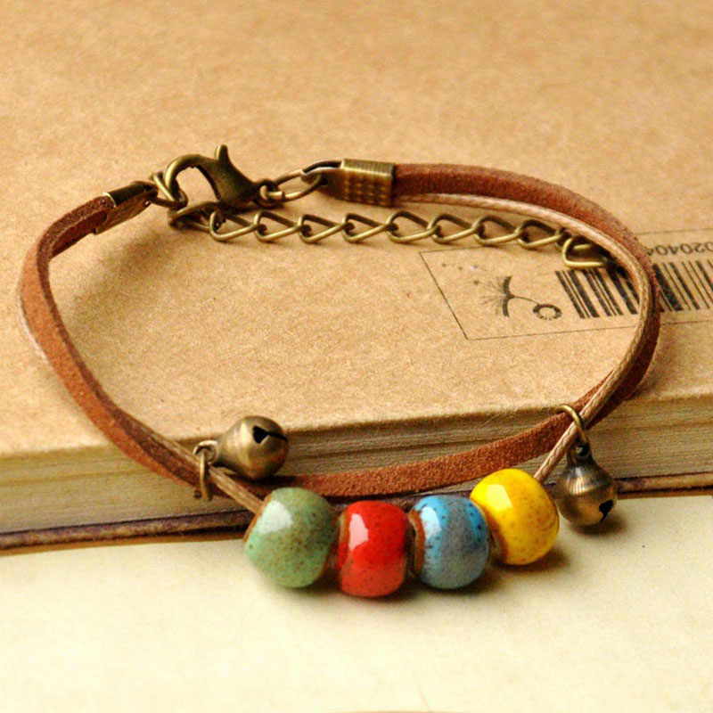Ceramic Beads Bracelets Charms Bracelet For Women Colorful Bead Double Leather Bangles Men Jewelry Accessory Adjustable Chains