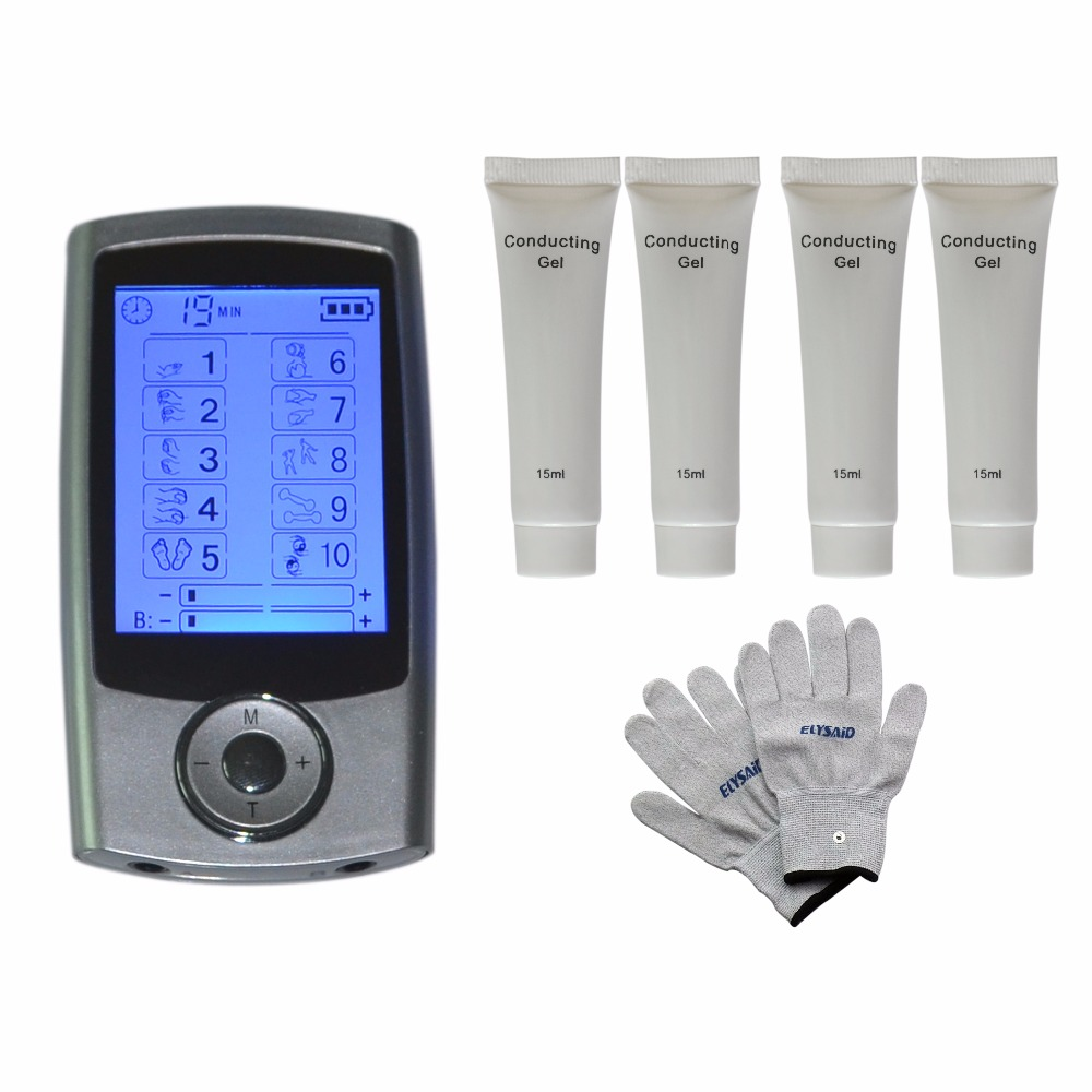 10Modes Multiple Elerodetherapy TENS Points Stimulate Masssager Blood Circulation+1Pair Physiotherapy Gloves+4Pcs Conductive Gel