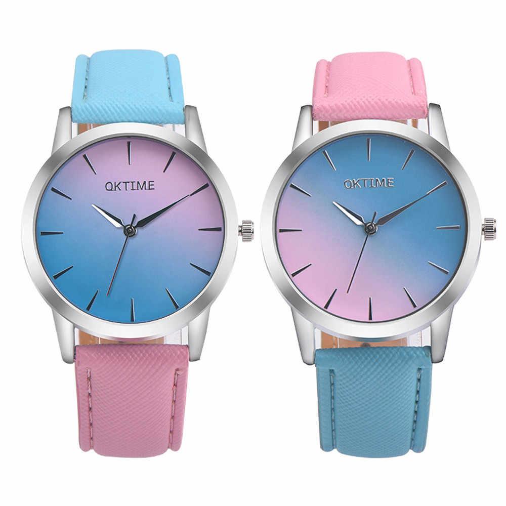 Moda kobiety oglądaj mężczyźni miłośnicy zegarki Rainbow Design skórzany pasek zegarek kwarcowy na co dzień panie Relogio Feminino Drop Shipping