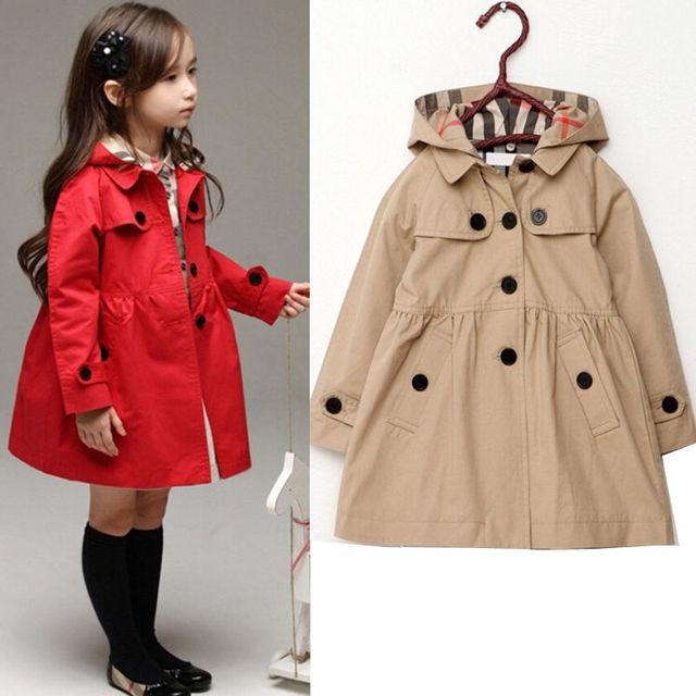 Baby Toddler Girls Rompevientos Trench Coat Niños Chaqueta de Invierno Cálido prendas de Vestir Exteriores 2-7