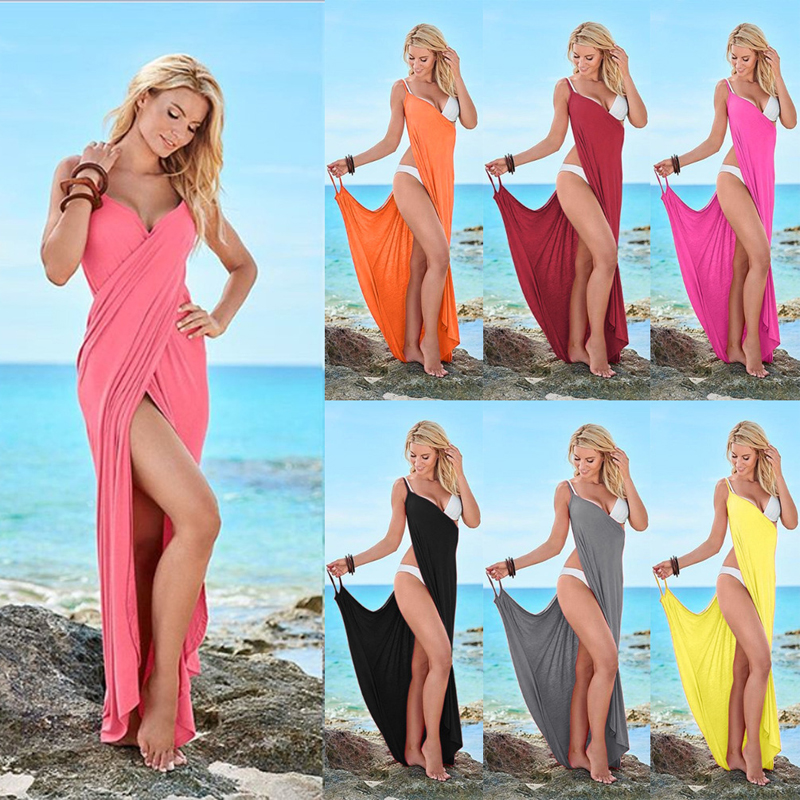 973c18cdae7a6 Big Promo] Women Beach Dress Wrap Open Back Swimwear Summer Cover ...