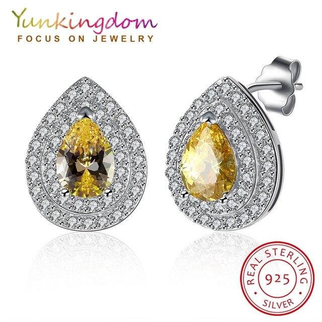 Yunkingdom 100% 925 Sterling Silver Earrings for Women Water Drop Shape Stud Earring Elegant Champagne Zircon Earrings