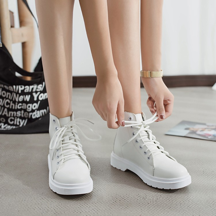 a3792173f8 COOTELILI Botas Women Leather Motocycle Ankle Boots Wedges Female Lace Up  Platforms Autumn Casual Shoes Woman yellow boots 35-40