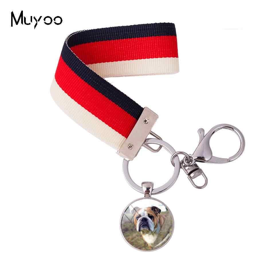 2018 Novo Design Chaveiro Bulldog Personalizado Pet Animais Fita Cabochon De Vidro Chaveiro Keychain Chave Titular Pulseira