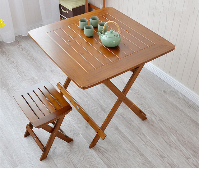 Bamboo Furniture Dining Table Square 80cm Outdoor/Indoor Garden Table Legs Foldable Portable Folding Dining Table Bamboo Wood