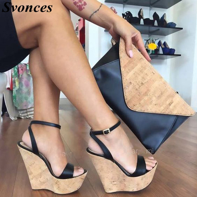 Italy Fashion High Heel Platform Sandal Shoes For Women Summer Wood Grain Wedge  Sandals 15cm Sexy 14d474f9e901