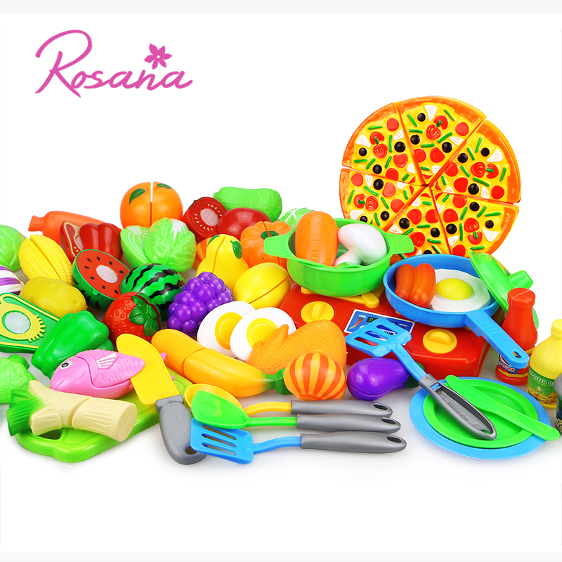 Rosana Kids Pretend Play kitchen Set Toys Miniature Squishy Food Pizza Magnetic Vegetable Fruit Cutting kit kat For Children rosana cordoba