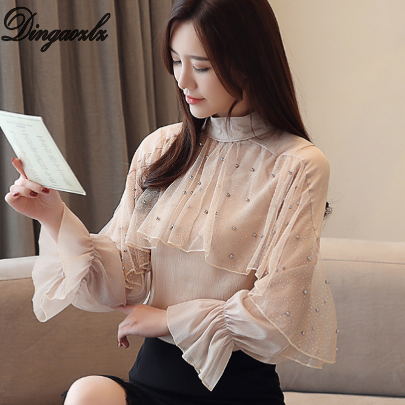 Dingaozlz 2019 New Elegant Folded Ruffles Women Clothes Chiffon Blouse Flare Sleeve Beaded Tops Casual Gauze Shirt Back To Search Resultswomen's Clothing