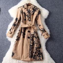 Hot Sale 2016 Women Long Outwear Double Colored Coat Fall and Winter Casual Double – Breasted Slim Windbreaker Coat Jacket
