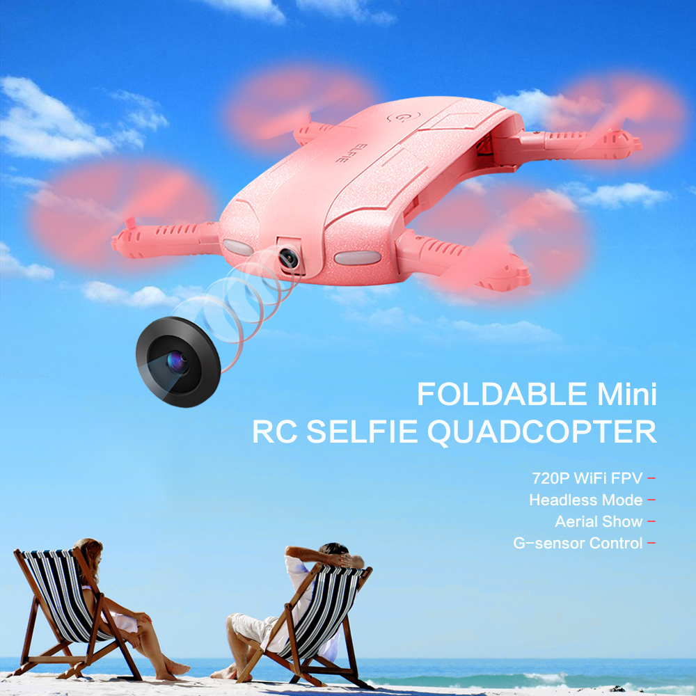 купить JJRC H37 ELFIE LOVE RC Drone Foldable Mini RC Selfie Quadcopter WiFi FPV 720P HD G-sensor Headless Mode Drones Control By Phone по цене 2770.29 рублей