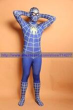Superhéroe Spiderman azul oscuro y blanco fresco del hombre araña de Cosplay Lycra Spandex Full body Adult Spider Man de Halloween