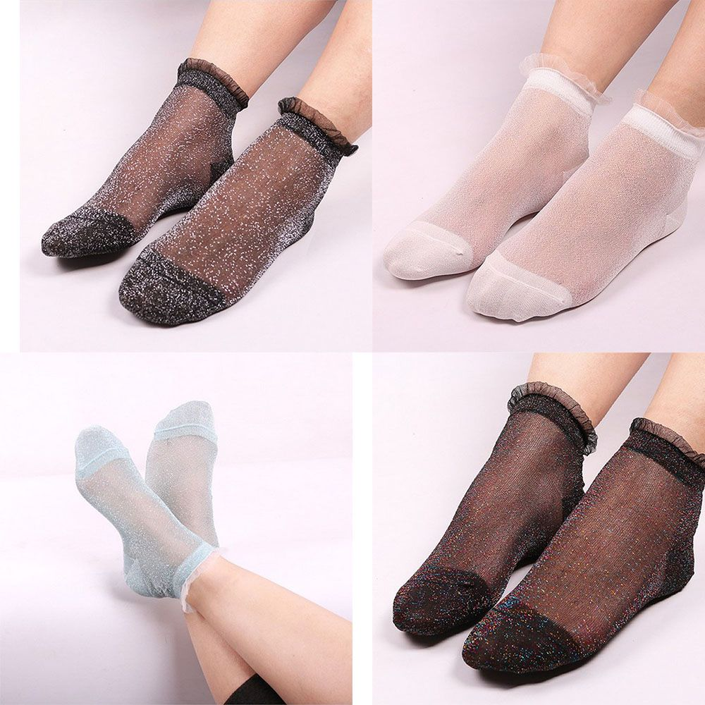 1 pair New Fashion Soft Trend Women's Color Crystal Magic Lace   Socks   Flash Female Stylish   Socks