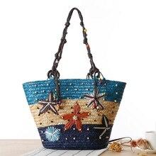 Bohemian Starfish Embroidery Women Vacation Straw Handbag Beach Bag Weaven Shoulder Bag Ladies Travel Tote Bolsas