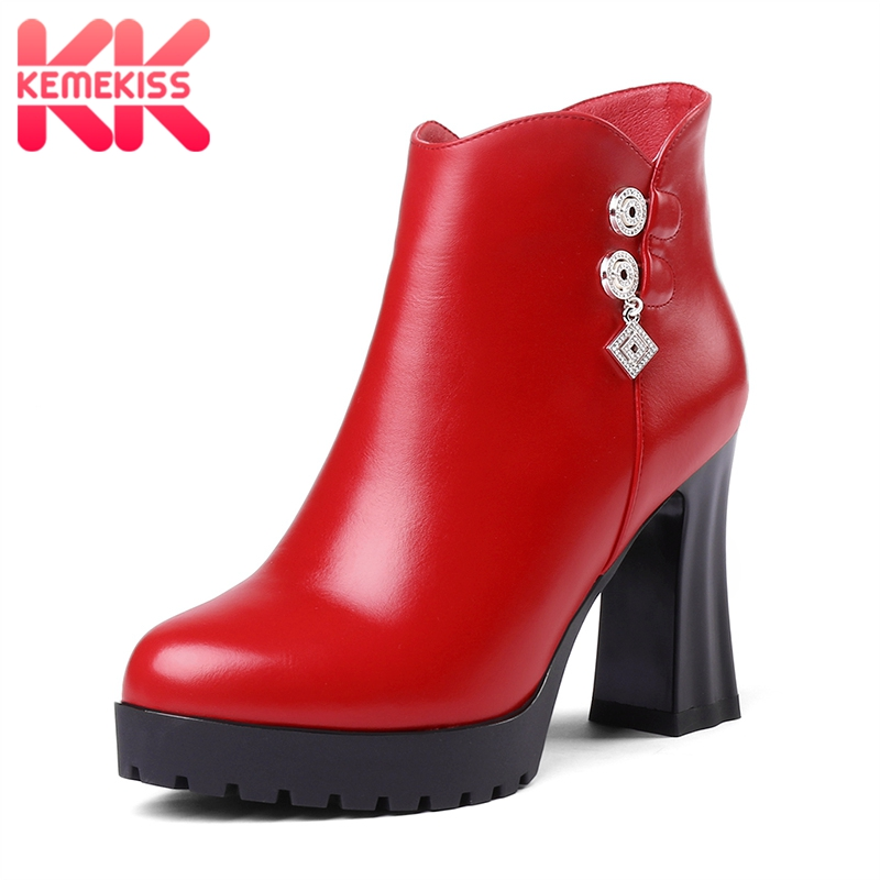 0fb78d00 34 Negro Caliente Zapatos Sexy Cortas Cremallera Botas Mujer Plataforma 39  Moda Tamaño Invierno Cristal Kemekiss ...