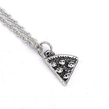 1pc Hot Sale Friendship Alloy Pizza Pendant Necklace Vintage Silver Plated Best Friend Pizza Charm Necklace Gift Free Shipping