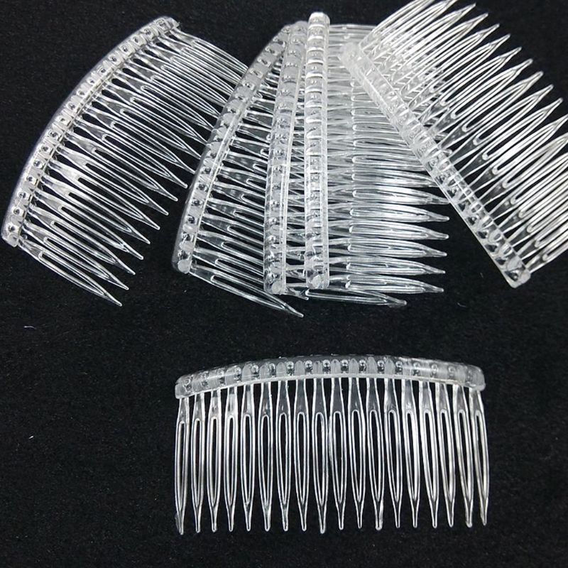 7x5cm 15 Teeth Fancy DIY Plastic Hair Clip Comb Women Bridal Wedding Veil Holder Transparent Beauty Tool Veil Accessories