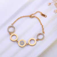 Apm Gold Plated Five Circles Stainless Steel Bracelet Bangle Charm Simple Adjustable Design For Women Fashion