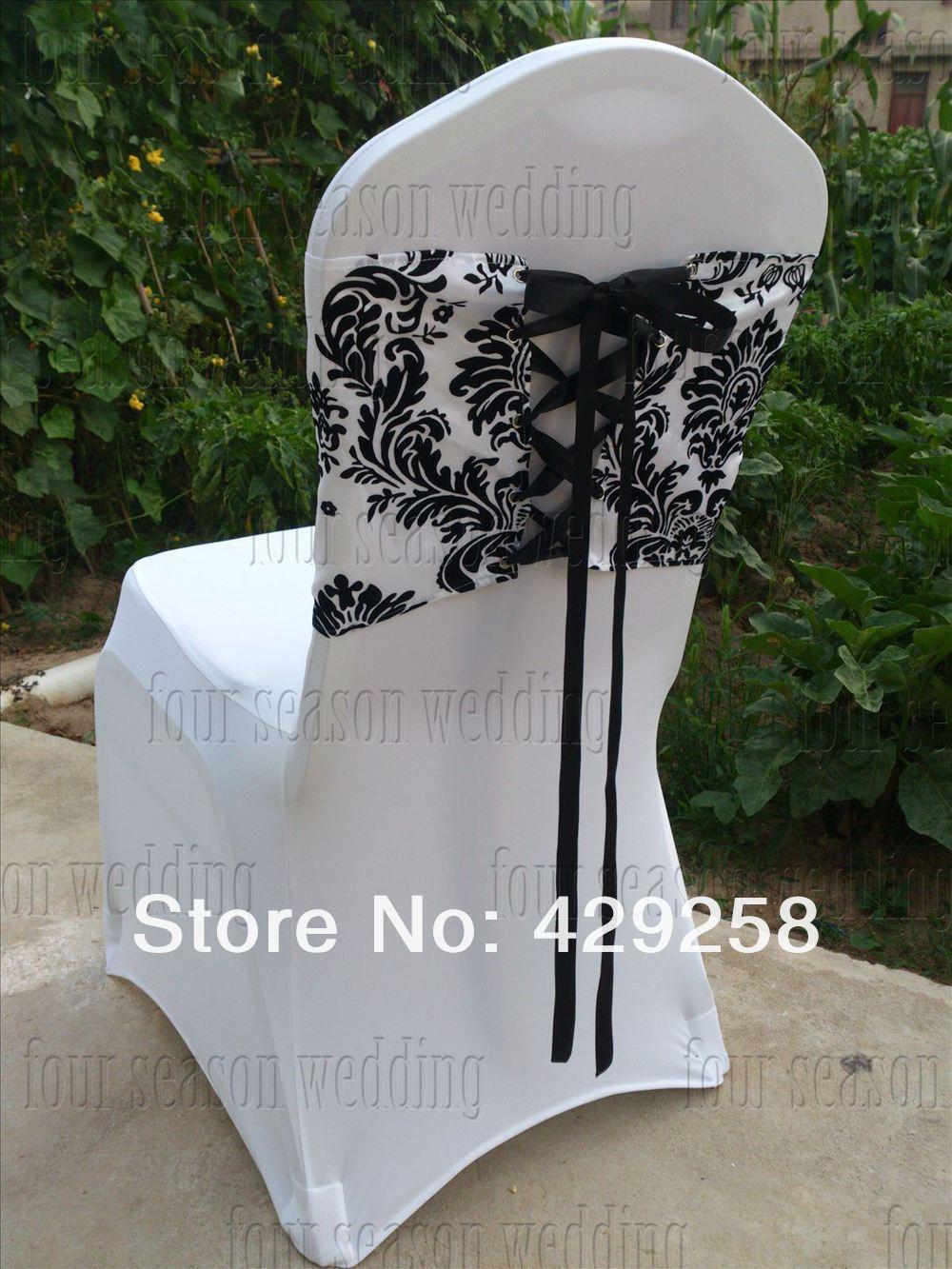 russian free shipping 50pcs white and black flocking taffeta chair
