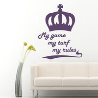 Wall Decals My Game My Rules Quotes Crown Vinyl Decal Sticker Home Decor