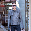 2017 New Men Vintage Motorcycle Leather Jacket Black Short Genuine Cowskin Plus Size XXXL Male Slim Fit Biker Coat FREE SHIPPING