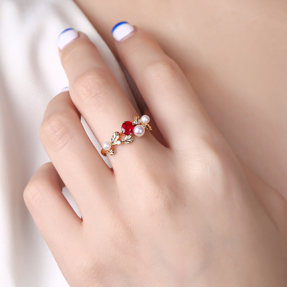 Caimao 14k Gold Natural 0.44ct Ruby with Pearl Diamond Vintage ...