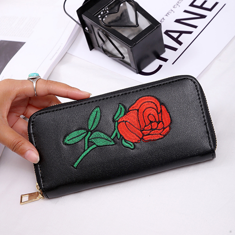 pu Leather Wallet Female Purse Printing Flowers designer Clutches Phone coins Card Holder Female Money Bag 2017 long wallet pu leather wallet heels wallet phone package purse female clutches coin purse cards holder bag for women 2415