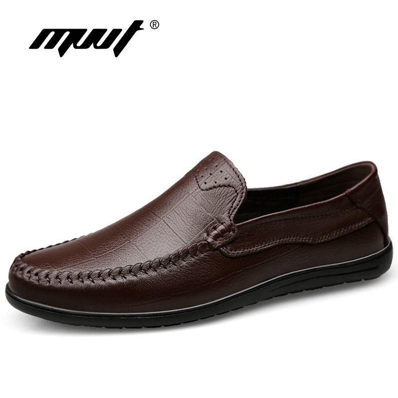 MVVT Classic Genuine Leather Men Shoes Soothing Slip On Men Loafers Soft Leather Casual Shoes Men Flats Driving Shoes faux twinset rib splicing hooded long sleeve slimming modish pu leather jacket for men